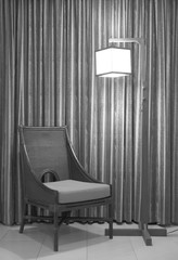 abstract rattan chair with lamp