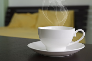 hot coffee or tea in bedroom
