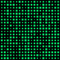 Green squares on a dark background. Vector illustration.