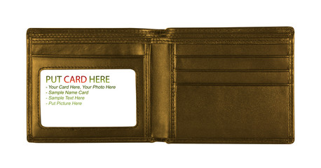 open gold wallet for put card, included clipping path