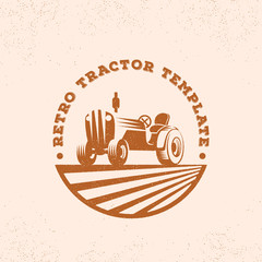 Retro Tractor Silhouette Vector Logo or Emblem Template. Vintage Farm Sign with Typogrphy.