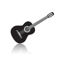Acoustig black guitar, isolated musical instrument with reflection. Vector illustration