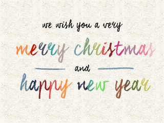 Text design writing by oil pastel for new year and Christmas
