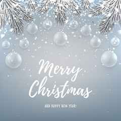 Merry Christmas backdrop with glass toys. Elegant vector illustration with a congratulation. Happy New Year background with silver confetti and shining lights.