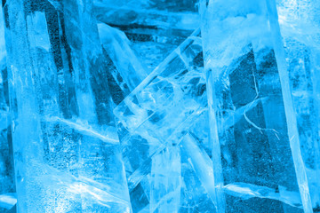 Giant colored ice crystals in blue from the ice festival harbin China