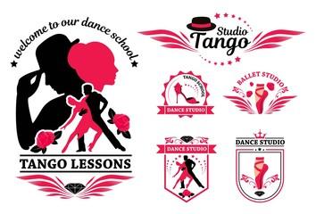 Set logo of dancing couple. Dancer tango illustrations. Dancing people set. The character set for tango. Use for tango studio poster, flayer, web-sites. Tango inscription.