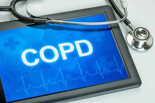 Tablet mit der Diagnose COPD auf dem Display
