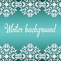 Winter background with paper snowflakes