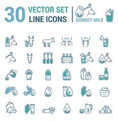 Set vector icons graphic thin outline in a linear design. Element emblem symbols of donkey milk, the dairy industry and dairy products.Organic product. Allergy-free. Healthy body care