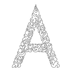 Letter A. Decorative Alphabet with a paisley zen doodle tattoo ornaments filling.
