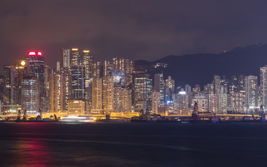 Canvas Prints New York Hong Kong city, view from Victoria Harbour