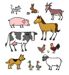 Viele Cartoon Tiere vom Bauernhof