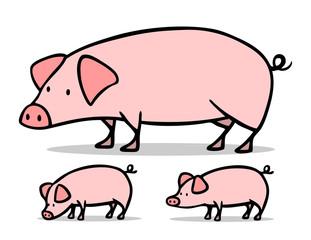 Sau und Ferkel als Schweine Familie