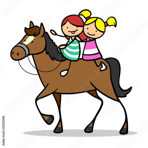 zwei m dchen reiten auf pferd stockfotos und lizenzfreie bilder auf bild 122121040. Black Bedroom Furniture Sets. Home Design Ideas