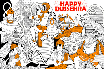 Hanuman doodle for Happy Dussehra Navratri festival of India