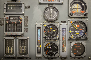 Vintage airplane panel controls