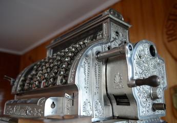 Vintage cash register at the hotel Hosteria Las Lengas in Tierra del Fuego.