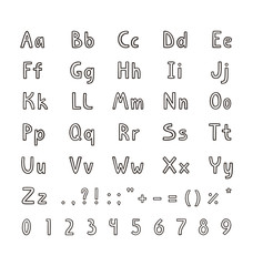Alphabet letters and numbers in simple flat style