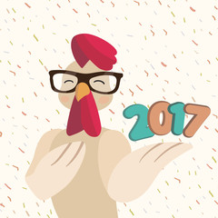 Vector new year greeting card with hipster rooster 2017 new year typography poster