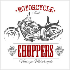 Motorcycle Chopper logo. Vector vintage garage logotype. Motorbike.