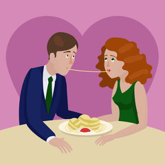 Couple in love eating spaghetti on a date vector