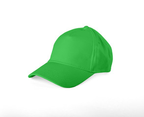 Green Baseball Cap on white background.