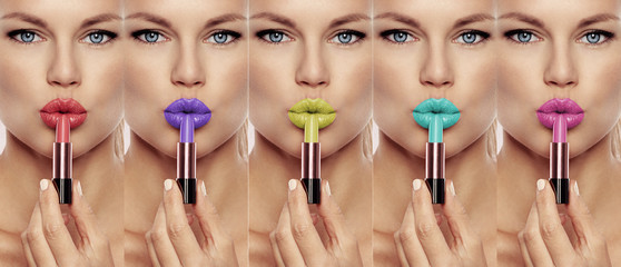 Collage of pretty woman face with bright colorful lips and lipsticks. Concept of fashion, makeup and glamour.