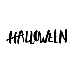 Halloween party hand drawn lettering phrase, isolated on the white. Fun brush ink inscription for photo overlays, typography greeting card or t-shirt print, flyer, poster design.