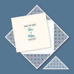Wedding invitation with geometric pattern.