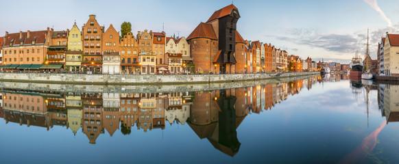 Spoed Foto op Canvas Stad aan het water Cityscape of Gdansk in Poland,Panorama