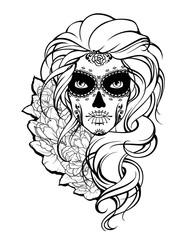 Skull girl and flowers.