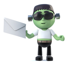 3d Child frankenstein monster has mail