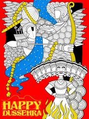 Lord Rama with bow arrow killing Ravan