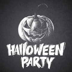 Halloween calligraphy. scary pumpkin vector lettering.