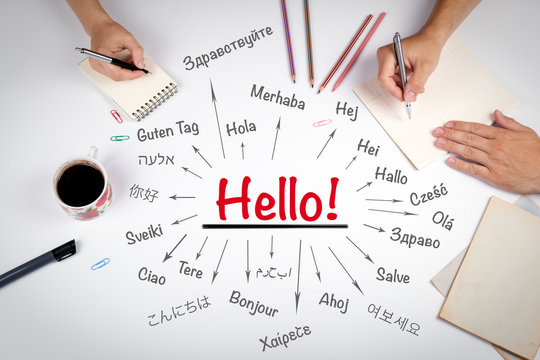 Hello word in different languages of the world. The meeting at t