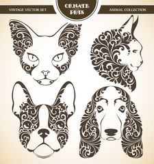 Vector set ornamental decorative pets