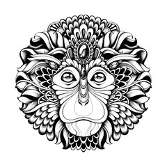 Highly detailed abstract ornate zentagle monkey vector illustration