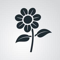 Icono plano flor en fondo degradado