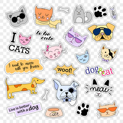 Fashion patch badges. Cats and dogs. Stickers, pins, patches and handwritten notes collection in cartoon 80s-90s comic style. Vector illustration isolated on transparent background. Vector clip art.
