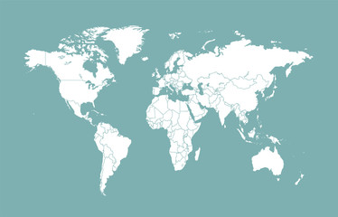 world map with borders flat design