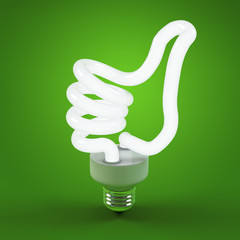 Ecology environment and saving energy, light bulb concept of successful business. Thumb up sign gesture hand lamp bulb.