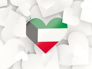 Flag of kuwait, heart shaped stickers