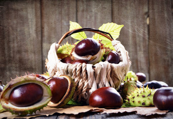 Horse chestnut in a basket on wooden background,texture