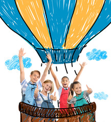 Group of cute children with hot air balloon drawing. School concept.