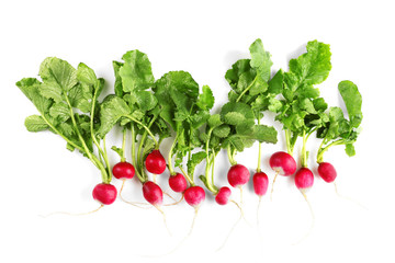 Young radish on white background