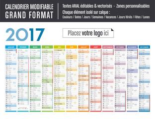 Calendrier 2017 modifiable - Grand format