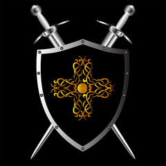 Vector shield and swords for different designs.