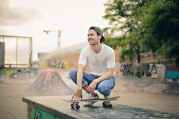 Having fun at the skatepark