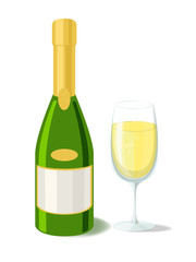 Alcohol. Champagne bottle  with filled glass. Vector illustration