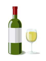 Alcohol. Bottle of white wine with a glass of wine. Vector illusration